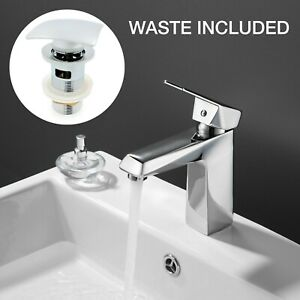 Modern Square Tap Basin Sink Mixer Chrome Mono Lever Bathroom Taps with Waste