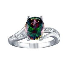 Neues AngebotSterlingsilber Ring W / Klar & Oval Schliff Mystic Topas Farbe Cz Steine