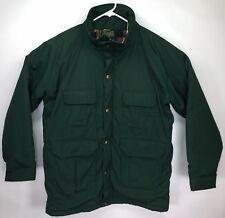 WOOLRICH Mens Long Flannel Wool Lined Green Jacket Barn Coat Size Large Zip Snap