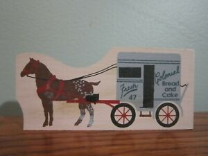 HORSE DRAWN COLONIAL BREAD AND CAKE WAGON ACCESSORY CAT'S MEOW VILLAGE WOOD