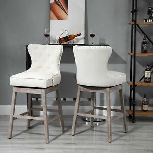 Vintage Pub Bar Stool 2PCs Set 180° Swivel Chair Footrest Rubber Wood