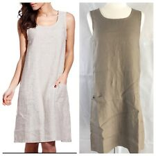 Eva Tralala Khaki 100% Linen Scoop Neck Sleeveless Pockets Dress Size 6 D10