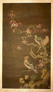 17C Chinese Early Qing Silk Painting Scroll 3x Birds Flowering Branch (FLA) #37