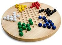 Wooden Chinese Checkers Family Board Game Set. with Extra Wood Marbles