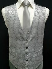D14 Mens VINTAGE Silver Wedding Evening Formal Suit Waistcoat - Big Sizes Avail