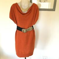 Chelsea And Theodore Womens Cashmere Soft Wool Dress Rust Warm
