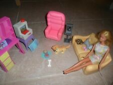 Barbie Doll/other Living Room Furniture: Couch, Chair,Bookcase,Barbie Doll,dogs+