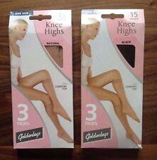 2 pairs of Goldenlegs One size 15 Denier Knee High LUXURY tights UK SELLER,