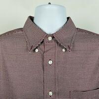 Jos A Bank Traveler Burgundy Red Min Check Mens Dress Button Shirt Size Large L