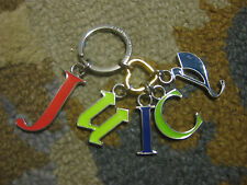 JUICY COUTURE~NEON~HANGING LETTERS~SILVER HARDWARE~KEYRING/KEYCHAIN/KEYFOB~HEART