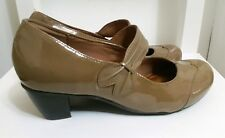 hotter womens brown faux leather mary janes size 5 38 block mid heel nude shoes