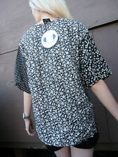 blouse 80s new wave polka dots floral rayon black and white Zero Zero Unisex wow