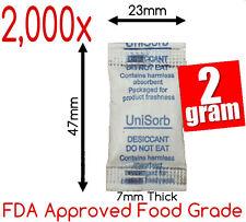 2,000 x 2gm Food Grade Silica Gel Desiccant Moisture Absorber Sachets Tyvek