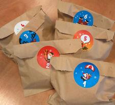 Calendario adviento bolsas con bonito pegatinas de navidad,sin relleno,pegatinas