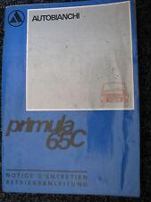 Autobianchi Betriebsanleitung Notice d'entretien Primula 65C (Frans / Duits)