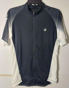 Bontrager Race Short Sleeve Cycling Jersey Full Zip Black White 3 Pockets L EUC
