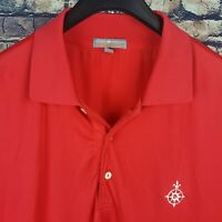 PETER MILLAR Summer Comfort Mens Solid Red S/S Golf Polo Shirt Large L