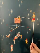 vtg Mother Goose Musical Crib Mobile  IRMI Wooden Hand Painted W/ BOX #815