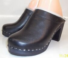 Maguba Oslo Womens EU 37 US 6 Sherpa Lined Black Leather Wood Heel Clog SWEDEN