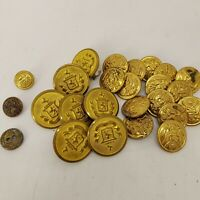 Vintage / Antique Metal Buttons lot of 25 Waterbury Button Co. CT MILITARY Brass