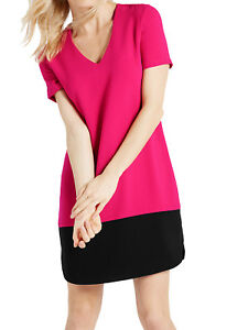 Ladies Ex MARKS AND SPENCER PINK Color Block Short Sleeve Tunic Dress