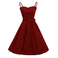 Vintage Women Swing 50s Spaghetti Strap Housewife Rockabilly Pinup Party Dress