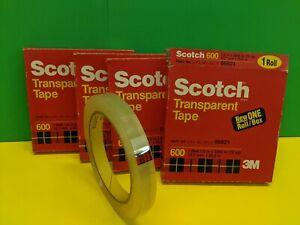 "4 Rolls of Scotch 600 Transparent Tape 1/2"" x 72 yards - NOS"