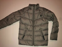 Boys Spyder Winter Hooded Puffer Coat Jacket Size Youth 14/16 (L) Grey Black