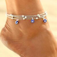 Evil Eye Nazar Turkish Amulet Bead Anklet, Ankle Bracelet, Boho Jewelry