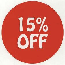 Price Tag Labels 15% Off Red with White Imprint - 3/4 Dia 1000 Per Roll