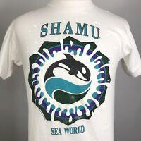 VTG SHAMU SEAWORLD WHALE TOURIST FAMILY WHITE 90s SINGLE STITCH USA T SHIRT M