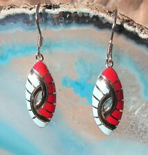 Earring Red Blue Indian Jewelery Native American Style Sterling Silver 925