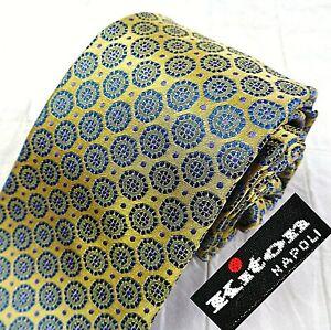 KITON Seven Fold Mens 100% Silk Neck Tie ITALY Luxury Glossy Gold Blue Medallion