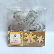 "Wilton Snowflake Cookie Cutter Set 4 Pieces Metal 2"" To 5"" Nesting Sizes Winter"