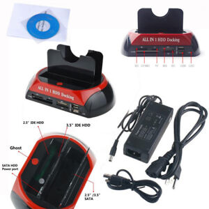 "2.5""/3.5"" IDE/SATA USB 2.0 Hard Drive All-in-1 HDD Docking Station Card Reader"