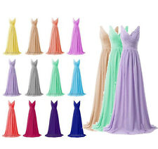 Plus Size Long V Neck Chiffon Prom Evening Bridesmaid Dresses Wedding Party Gown