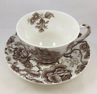 Johnson Bros English Chippendale Extra Large Cup & Saucer Set Brown Transferware