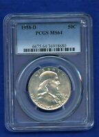 1958 D PCGS MS64 Franklin Half Dollar 50c US Silver Coin 1958-D MS-64 PQ Coin !