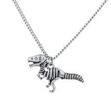 Lux Accessories Burnish Silver Tone Skeleton Dinosaur Pendant Novelty Necklace