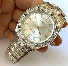 Geneva Starz Quartz Japan Movt Clear Stone Large Wrist Watch Silver Tone Runs