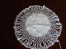 "Ivory Antique Rare White Lace doily & linen damask center vintage 10"""