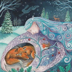 YULE CHRISTMAS GREETING CARD Mother Protection PAGAN GODDESS Fox WENDY ANDREW