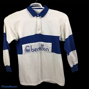 Vtg United Colors Of Benetton Spellout Rugby Shirt 1980s Italy 100% Cotton Blue