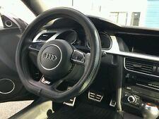 AUDI Black Steering Wheel Cover Faux Leather Carbon Fiber Flat Base Bottom