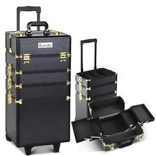 7in1 Portable Cosmetic Beauty Makeup Lockable Carry Case Trolley Box Black Gold