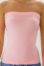Women's Seamless Bandeau Strapless Tube Top Basic Layering Ribbed Stretch Tee