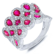 3.14CT 14K White Gold Natural Pear Round Cut Pink Sapphire Diamond Cocktail Ring