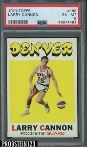 1971 Topps Basketball #196 Larry Cannon Denver Rockets PSA 6 EX-MT