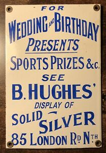 Antique Porcelain Sports Trophy Silversmith Advertising Sign