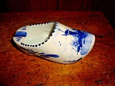 Delft Shoe Clog Ashtray Holland Blue White Signed Vtg Hand Painted Windmill